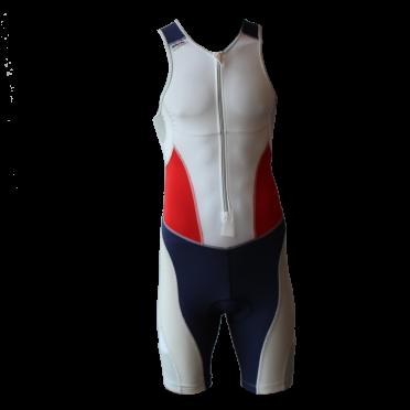 Ironman Trisuit front zip ärmellos Extreme suit Weiß/Blau/Rot Herren