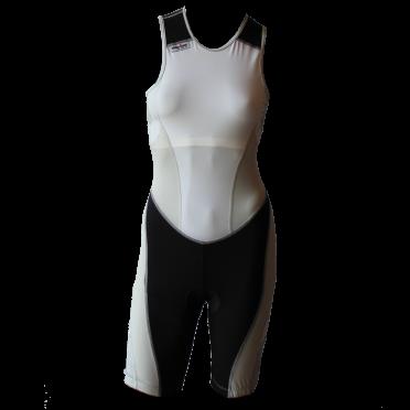 Ironman Trisuit back zip ärmellos Extreme suit Weiß/Grau Damen