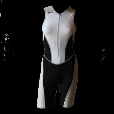 Ironman Trisuit front zip ärmellos Bodysuit Weiß/Schwarz Damen
